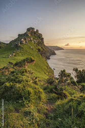 Poster Donkergrijs Stunning Valley Of The Rocks landscape in Devon during Summer sunset
