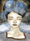 Fancy watercolor portrait of a woman. - 200791576