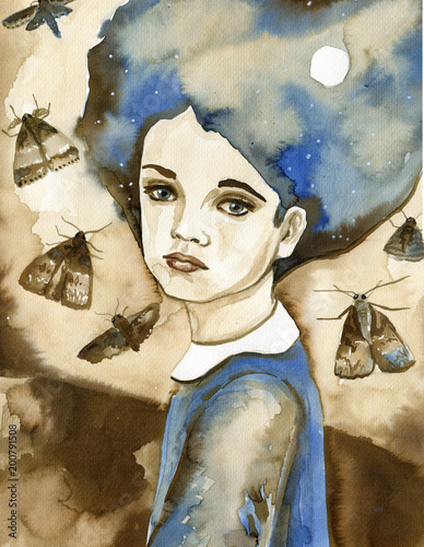 Foto op Aluminium Schilderkunstige Inspiratie Watercolor portrait of a child in blue.