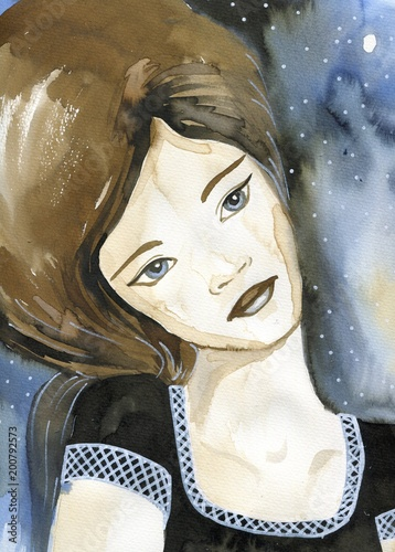Foto op Aluminium Schilderkunstige Inspiratie Fancy watercolor portrait of a woman.