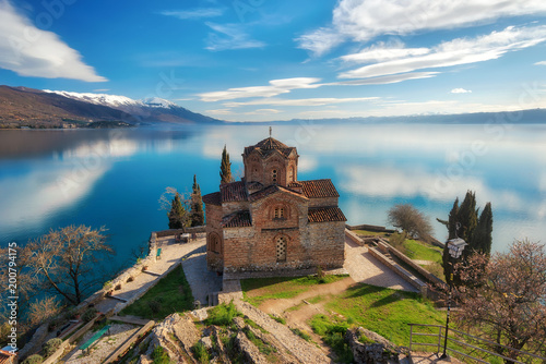 Foto op Plexiglas Cappuccino Church of St. John the Theologian -at Kaneo, Ohrid, Macedonia