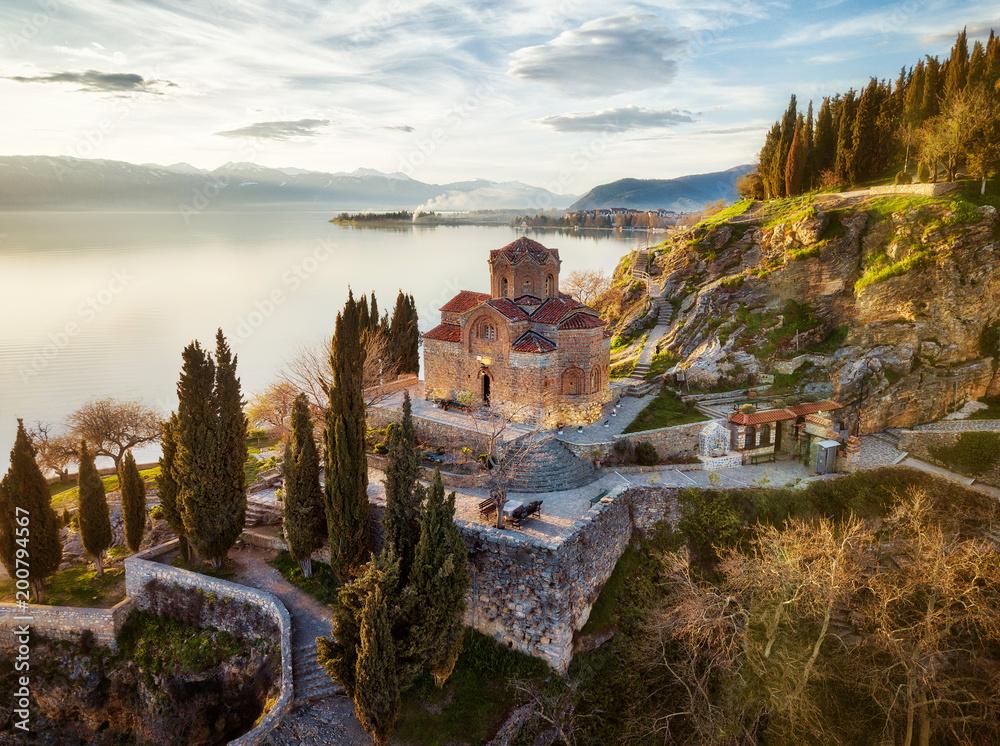 Fototapety, obrazy: Church of St. John the Theologian -at Kaneo, Ohrid, Macedonia