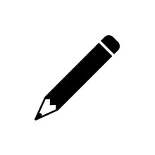 Pencil Icon In Flat Style