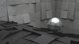 Fototapeta Do przedpokoju - Abstract of architecture space with random rhythm of tilt concrete block and chrome sphere ball on the ground,3D render