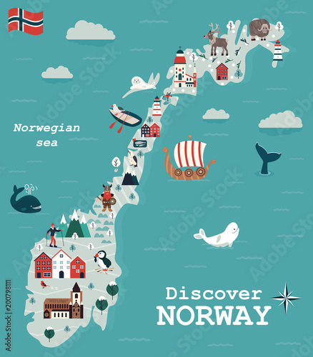 Fototapeta Set of Norway landmarks. Vector illustration