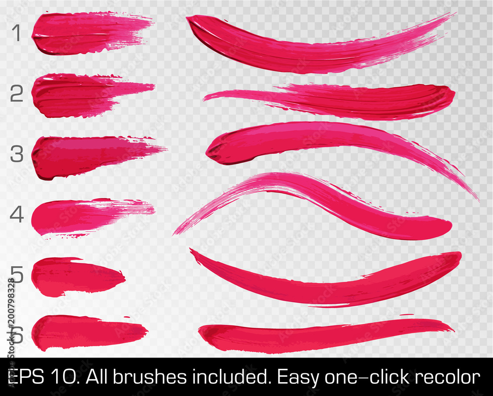 Fototapeta Red smears lipstick set texture brush strokes isolated on white transparent background. Make up. Vector illustration. Beauty and cosmetics colorful collection, hand drawn design element.