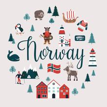 Set Of Norway Landmarks. Vecto...