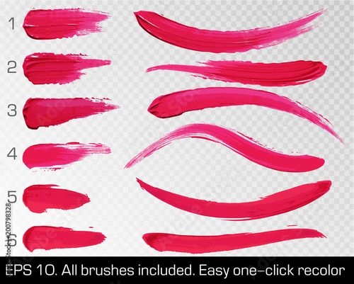 Fotografiet  Red smears lipstick set texture brush strokes isolated on white transparent background