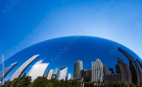 Acrylic Prints Chicago Reflection of Chicago Skyline in Chicago bean - Cloud Gate, Chicago Illinois