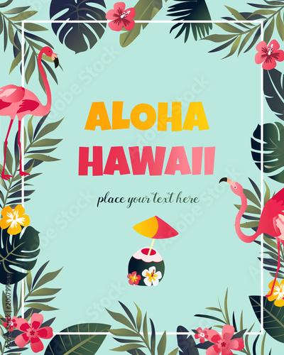 Tropical Hawaiian Poster with flamingo.