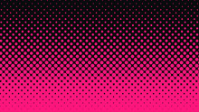 Halftone Gradient Pattern Vertical Vector Illustration. Pink Dark Dotted, Black Halftone Texture. Pop Art Black Pink Halftone, Comics Background. Background Of Art. AI10