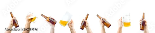 Papiers peints Biere, Cidre Bunch Of Hands Holding Mugs And Bottles Of Beer Up At Party Giving A Cheers Isolated On White Background