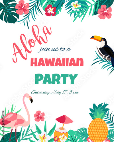 Tropical Floral Poster with flamingo and toucan