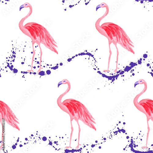 Fotobehang Flamingo vogel Trendy flamingo watercolor seamless tropical pattern. Paint splashes backdrop, stains splatter texture. Flamingo bird watercolor textile background, seamless fashionable pattern design.