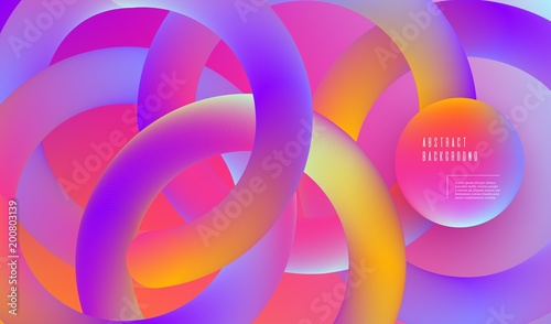 Fotografie, Obraz  Composition with 3d intertwined multicolor rings Abstract gradient banner Vector