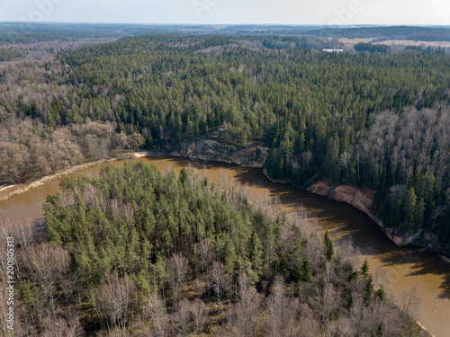 Papiers peints Cappuccino drone image. aerial view of forest river in spring. Gauja, Latvia