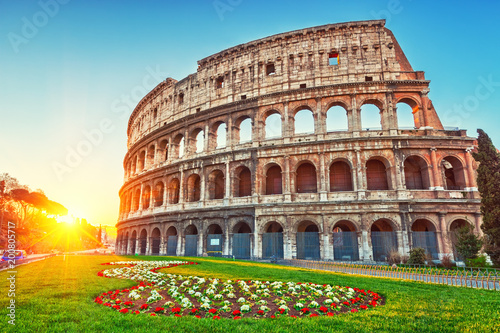 Colosseum at sunrise in Rome, Italy Wallpaper Mural