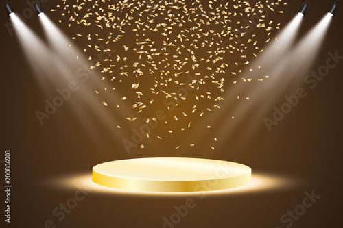 Fotografía  Golden podium with a spotlight on a dark background, with fog and confetti, the first place, fame and popularity