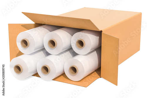 Valokuva  Rolls of wrapping plastic stretch films in cardboard box, 3D rendering