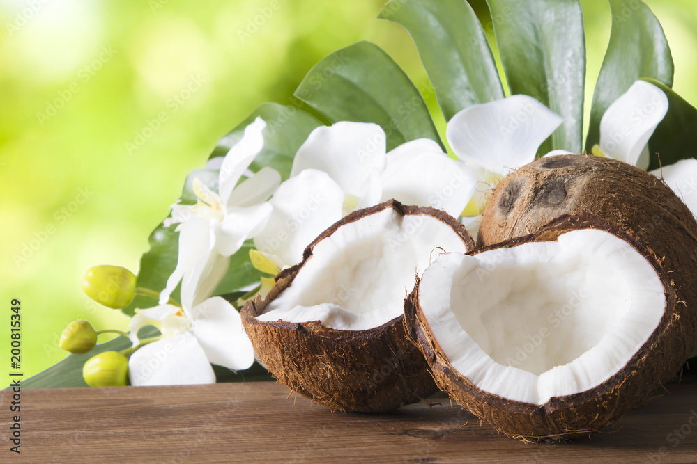 Obraz coconut open to natural on wooden bottom fototapeta, plakat