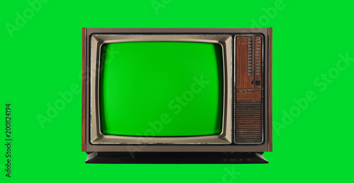 Old Vintage Television with green screen
