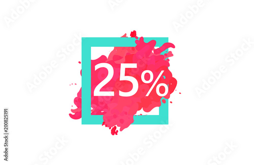Poster  25 Percent Discount Number Water Color Frame