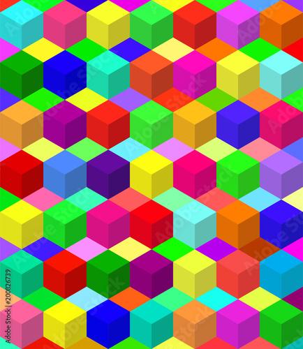 Okleiny na drzwi - przestrzenne 3D  vector-colorful-blocks-pattern-with-editable-block-colors-geometrically-symmetrical-illus