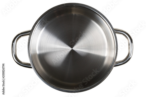 Empty open stainless steel cooking pot top view from above isolated on white