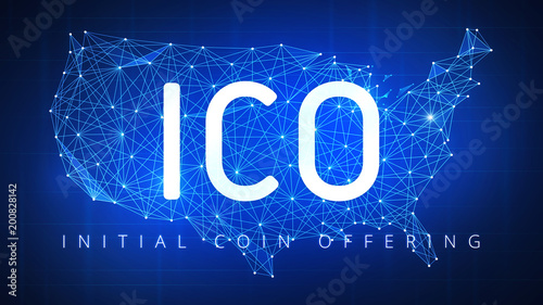 ico initial coin offering futuristic hud background with usa country map and blockchain peer to peer