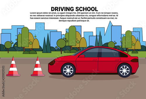 Cadres-photo bureau Avion, ballon Driving School Banner, Vehicle On Road, Auto Drive Education Practice Exam Concept Flat Vector Illustration