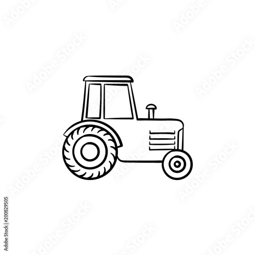 Tractor hand drawn outline doodle icon Wallpaper Mural