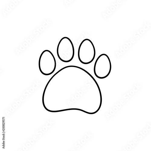 Good Paw Print Hand Drawn Outline Doodle Icon. Bear Paw Print Vector Sketch  Illustration For Print