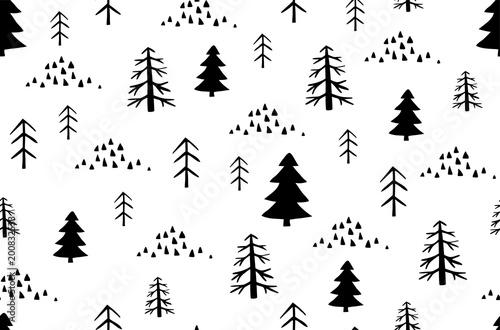Wild forest seamless pattern in Scandinavian style