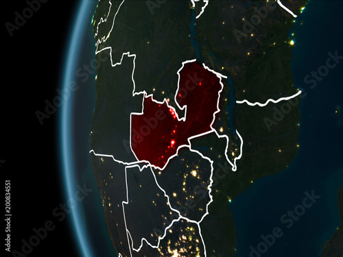 Fototapety, obrazy: Zambia from space at night