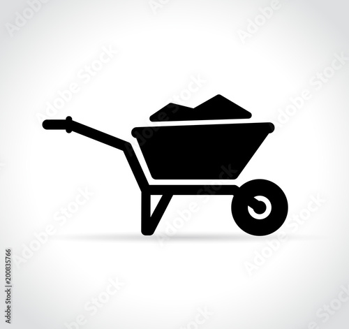 Cuadros en Lienzo  wheelbarrow icon on white background