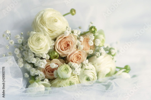 Beautiful Bridal Bouquet From Pale Pink Roses And White Ranunculus