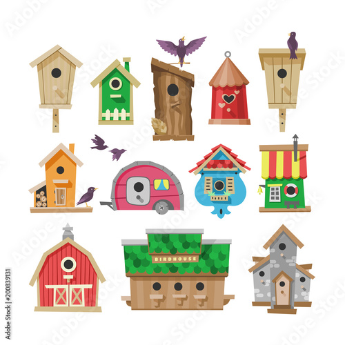 Photo Birdhouse vector cartoon birdbox and birdie wooden house illustration set of bir