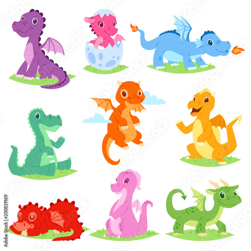 Fototapeta Cartoon dragon vector cute dragonfly or baby dinosaur illustration set of dino c
