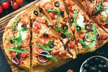 Flatbread Pizza Cut Into Slice...