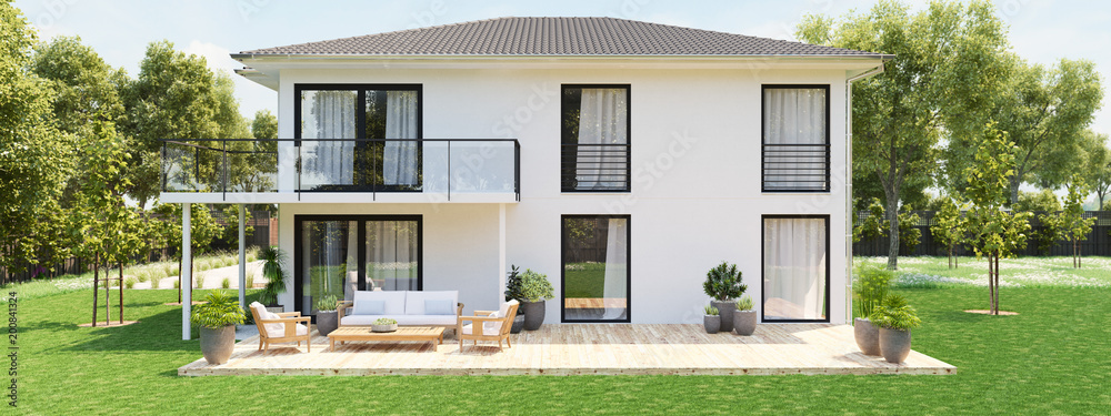 Fototapeta modern new house with large property. 3D rendering