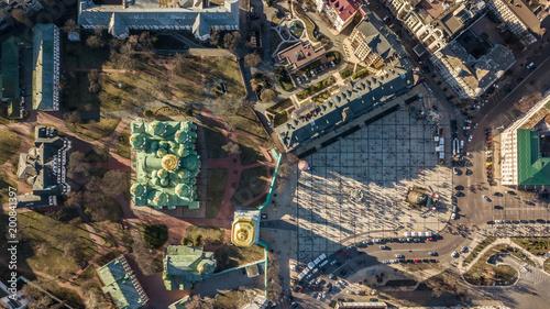 Fotobehang Kiev Kiev, Ukraine - April 7, 2018: Cathedral of St. Sophia in a spring sunny day with golden domes top view.