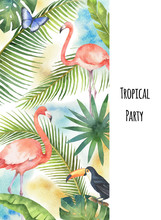 Watercolor Vector Vertical Banner Tropical Leaves, Flamingo And Toucan Isolated On White Background.