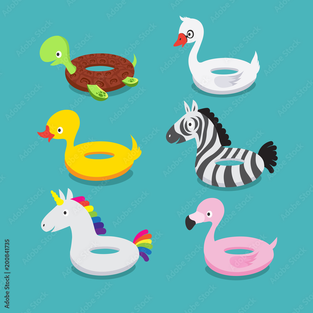 Swimming pool floats, inflatable animals flamingo, duck ...