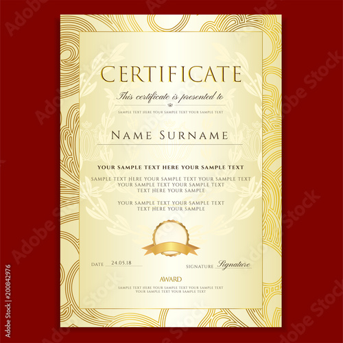 Certificate, Diploma (golden design template, colorful background ...