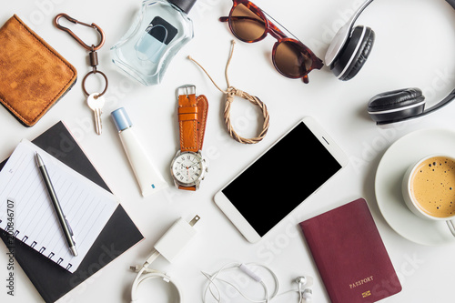Men's casual outfits with accessories items on white background, lifestyle holid Obraz na płótnie