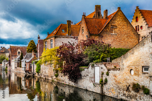 Poster de jardin Bruges Architecture of Bruges city, traditional houses view on the canal