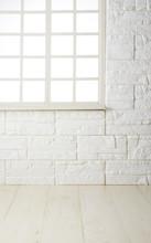 素材 白レンガ壁_窓_白木床