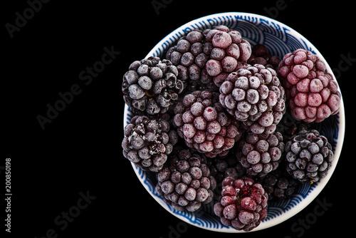 Frozen blackberry fruits, close up