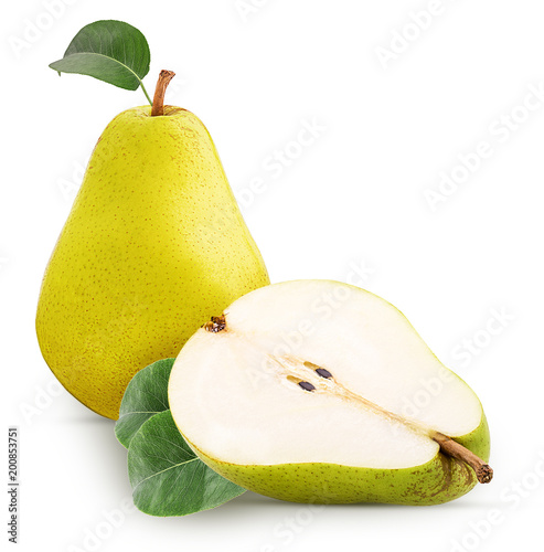 Papiers peints Jardin Fresh pears, One and a half yellow fruit with leaf