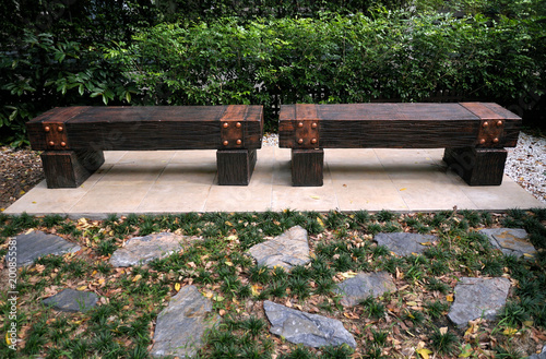 Wondrous Wooden Brown Bench For Relax On Ceramic Tile Floor With Uwap Interior Chair Design Uwaporg